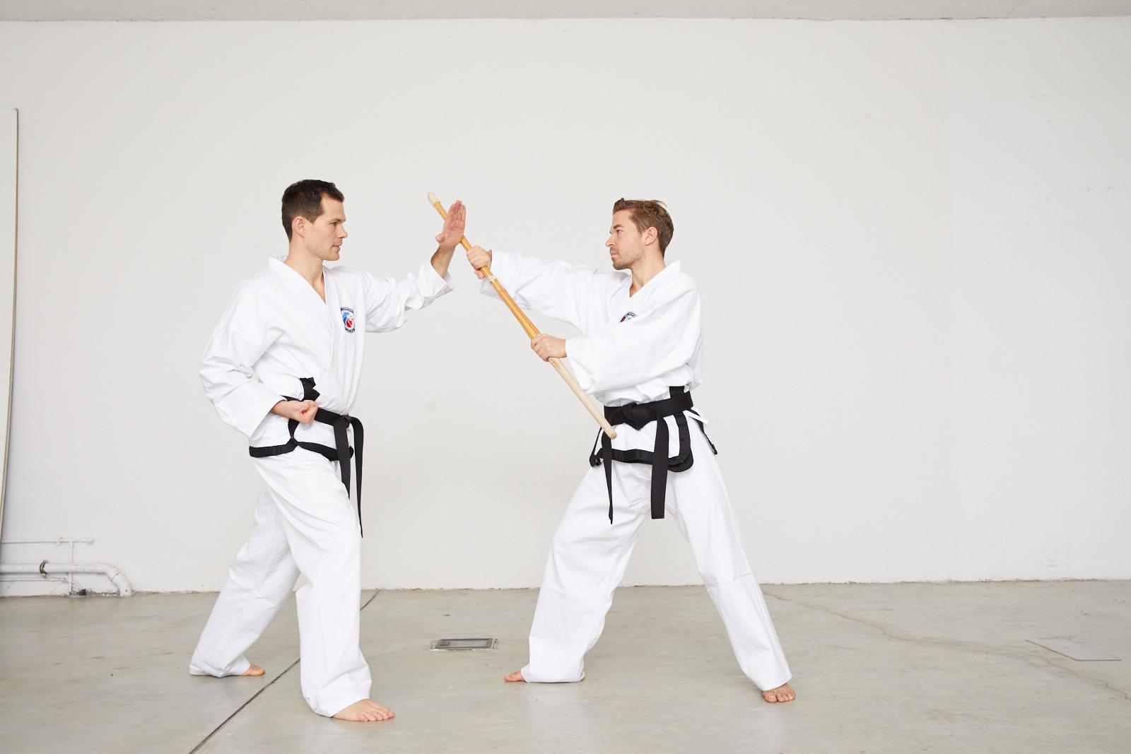 Taekwondo Schwarzgurt Stockabwehr