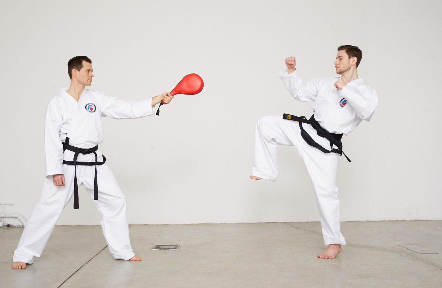 Taekwondo-Kick auf Schlagpolster - Teil 2