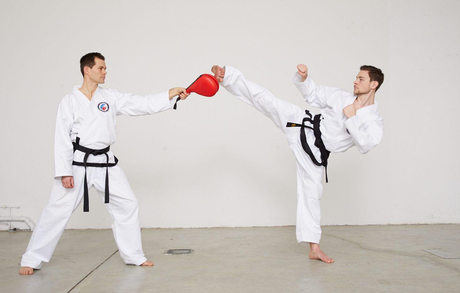 Taekwondo-Kick auf Schlagpolster - Teil 4